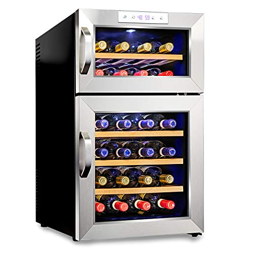 Ivation Premium Stainless Steel 24 Bottle Dual Zone Thermoelectric Wine Cooler/Chiller Counter Top Red & White Wine Cellar w/Digital Temperature, Freestanding Refrigerator Quiet Operation Fridge
