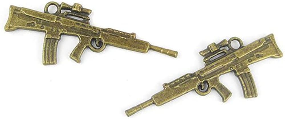 Jewelry Making Charms AA074 Machine Gun Retro Bronze Seattle Safety and trust Mall Fin Ancient
