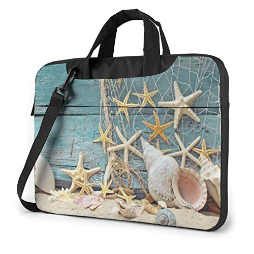 Laptop Bag 15.6 Inch Laptop Sleeve Case with Shoulder Straps & Handle/Notebook Computer Case Briefcase Compatible with MacBook/Acer/Asus/Hp - Seashells Starfish