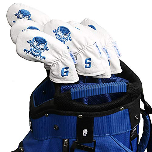 wosofe Golf Iron Covers Black Leather Headcovers 9pcs /Set (4 5 6 7 8 9 P A S) Skull EmbroideryThick Lining White Blue