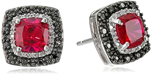 Jewelili Sterling Silver 6mm Created Ruby Cushion with Black and White Diamond Accent Stud Earrings
