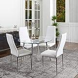 GOLDFAN Tavolo da Pranzo Moderno Rotondo in Vetro, con Quattro Sedie con Schienale Alto in PU, Utilizzabile in Ristoranti, Uffici, Sale Riunioni, 80 x 80 x 75 cm, Bianco