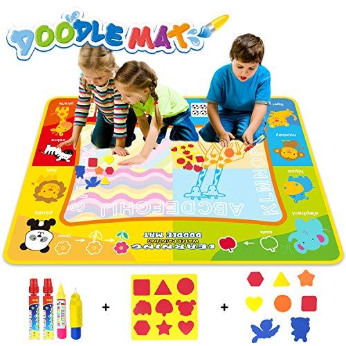 Jenilily Doodle Malmatte, 120x90CM Wasser Malmatte Baby Matte Toy Magic Spielzeug Junge Mädchen 2 3 4 5 Jahre kindergeschenke(Wasserziehmatte)