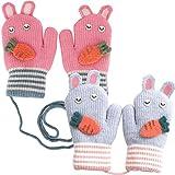 2 Stück Winterhandschuhe, Kinderhandschuhe, Gestrickte süße Karottenhandschuhe,Bunt und Süß, Geeignet für Jungen und Mädchen, Pink, Grau, 14 cm x 8 cm