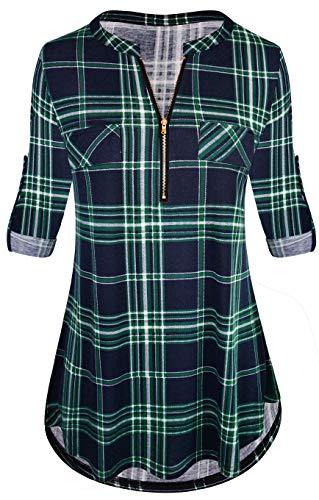 Odosalii Damen V-Ausschnitt Kariert Bluse 3/4 Ärmel Kurzarm Reißverschluss Tunika Tops Longshirt Hemd T-Shirt