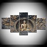 DGGDVP 5 Unids/Set Arte de la Pared Impreso Impresiones de Lienzo Pinturas Estatua de Buda de Oro Decoración de la habitación Imagen de Pared Irregular para Sala de Estar Tamaño 1 Sin Marco