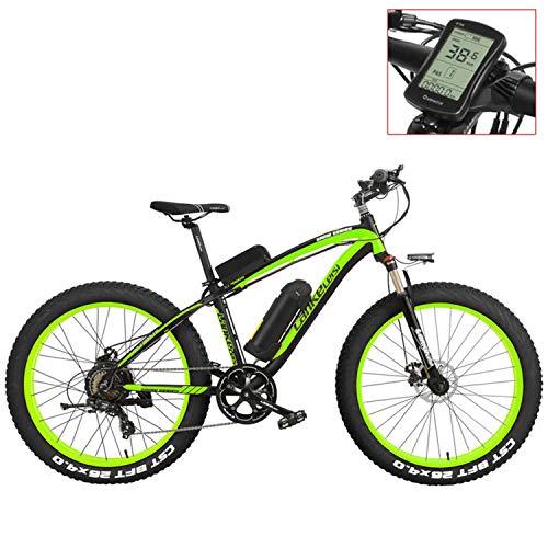 LANKELEISI XF4000 Mountain Bike elettrica da 26 Pollici, 4.0 Pneumatici Grassi, Bici da Neve, Batteria al Litio 48V, Bicicletta a pedalata assistita (Green-LCD, 1000W)