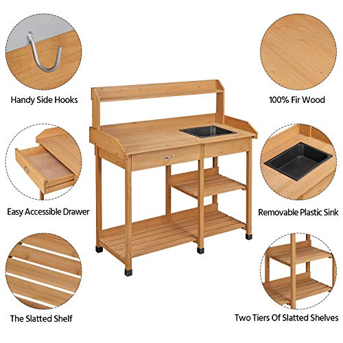 Topeakmart Outdoor Garden Potting Bench Potting Table Work Bench with Removable Sink Drawer Rack Shelves Work Station Wood