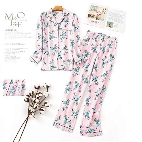XFLOWR pyjama's dames Kawaii cartoon pyjama's 100% geborsteld katoen vrouwelijk leuk nachtpak lange mouwen nachtkleding M PH-001