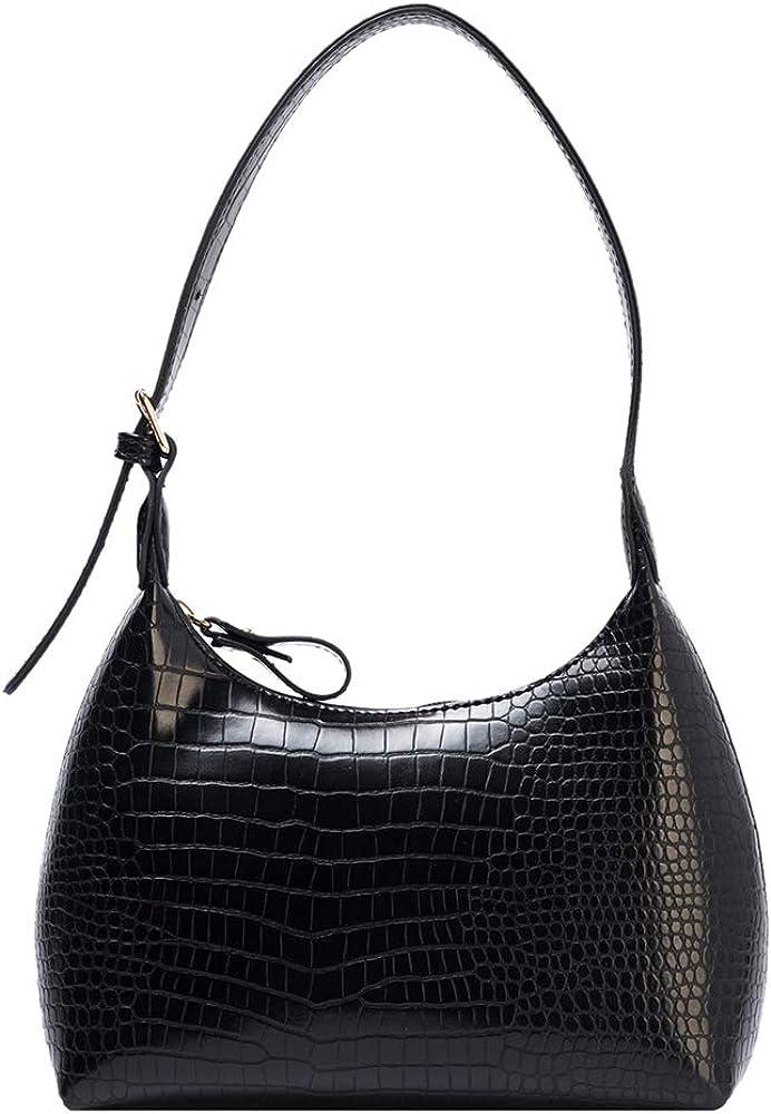 Retro Shoulder Bag Leather Hobo Bag Handbag Purse Vintage Crocodile Pattern With Zipper Closure