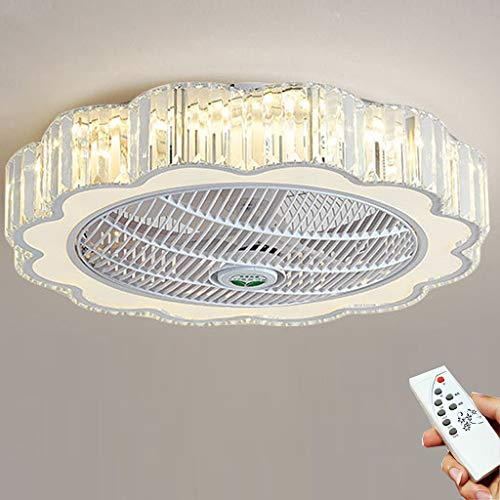 LED Lámpara Ventilador De Techo Con Iluminación Ventilador Con Luz Regulable Luz De Techo Control Remoto Ultra Silencioso Can Timing Sala De Estar Oficina Moderna Lámpara De Dormitorio (60CM)