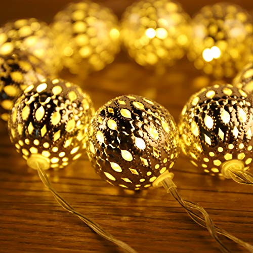 SALCAR LED marokkanische Lichterkette mit Netzstecker, 10m 30 LEDs Kugeln Orientalisch Dekorative, 4 cm extra große marokkanische Silber kugeln. Warmweiß