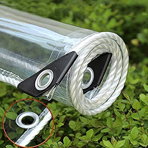 GUOTIAN Resistente con Ojales LonaTransparente PVC,Lona Impermeable Marquesinas Duraderas Plegables,0,35 mm Lona Alquitranada para Plantas de Muebles de jardín,Clear0.35mm,2.4x4m