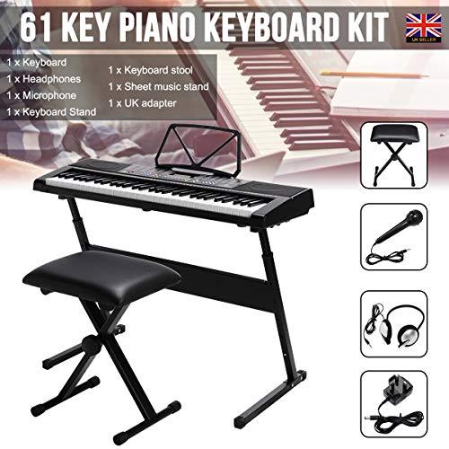 Llluminated 61 Keyboard Piano Kit(6 pcs),with 50 Demos inc Headphones &...