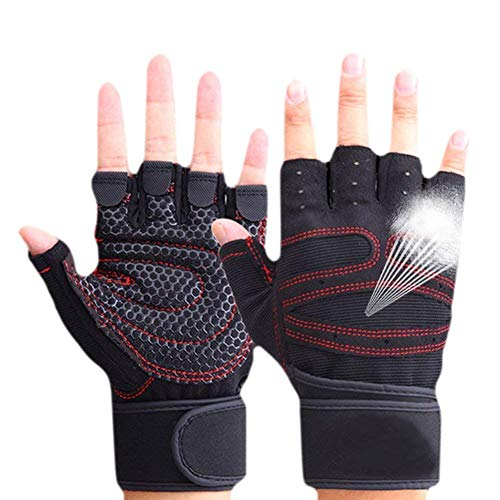 CESHMD Sport Gym Guantes Mitad Dedos Levantamiento Breathable Fitness – Pesas Guantes Hombres Mujeres Gym Guantes (Negro, L)