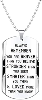 Elegant Chef Inspirational Jewelry Necklace Gift for Men Women- Always Remember You are Braver Stronger Smarter