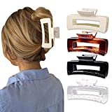 MagicSky 4PCS Large Hair Claw Clips, Acrylic French Design Hair Barrettes Clamps, No Slip Hair Catch Jaw Comfortable for Thick Hair-Fashion Accessories for Women Girls, Black/Transparent/Brown/White