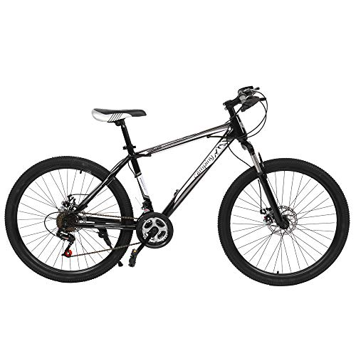 26' Mountain Bike, 21-Speed Full Suspension Bicycle Height adjustable Dual Disc Brake MTB