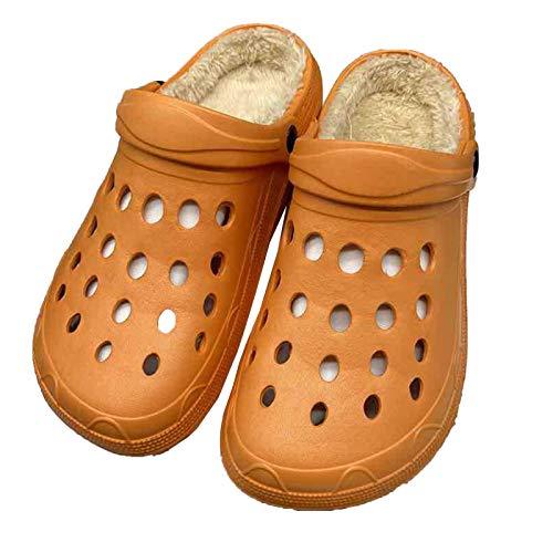 DALLL Pantuflas de invierno para hombre y mujer, cómodas pantuflas para exterior, impermeables, dos materiales cálidos, naranja, 6,5