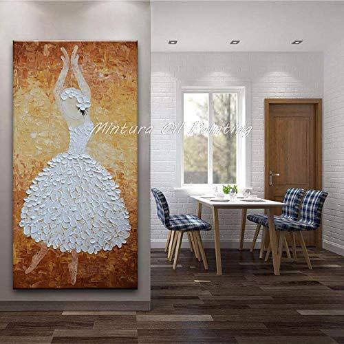 SHYHSCLBD olieverfschilderij op canvas handgeschilderd, abstract karakter van het schilderij, cartoon wit vlinder gebloemde rok dansers, moderne wooncultuur grote kunstwerken schilderij voor kantoor woonkamer slaapz 120×240cm