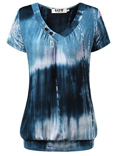 DJT Damen Basic V-Ausschnitt Kurzarm T-Shirt Falten Tops mit Knopf Blau-4 L
