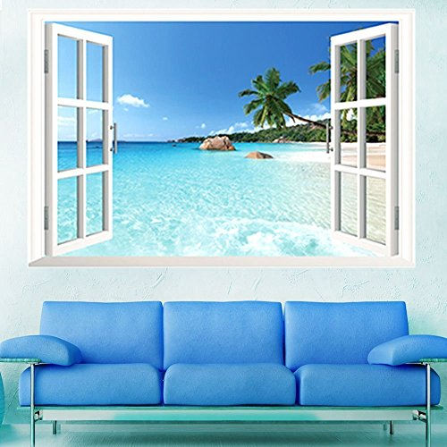 skyllc® Playa Grande mar 3D Ventana Vista Paisaje Etiqueta de la Pared, decoración del hogar extraíble PVC calcomanías, Bricolaje Carteles para Sala de Estar, Dormitorio, Comedor