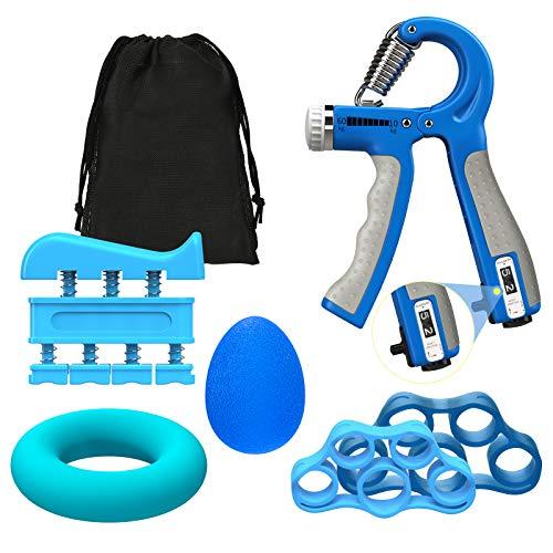 MoKo Juego de Fortalecedor de Mano para Entrenamiento, [6 PZS] Herramienta Empuñadura de Mano para Entrenamiento Antebrazo, Ejercitador de Dedos Ideal para Aliviar del Estrés del Muñecas, Dedos, Azul