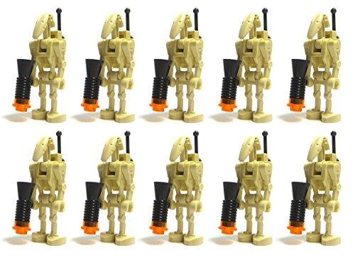 LEGO Star War 10 Battle Droids con mochila, antena y accesorios Blaster minifigura Set Federación Army Builder