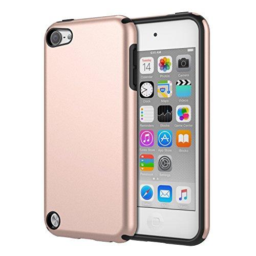 MoKo Funda Compatible con iPod Touch 2019/ iPod Touch 7 - [Anti Drop] Hard Polycarbonate + Silicone Protector Bumper Funda para iPod Touch 6th / 5th Generacón, Oro Rosa