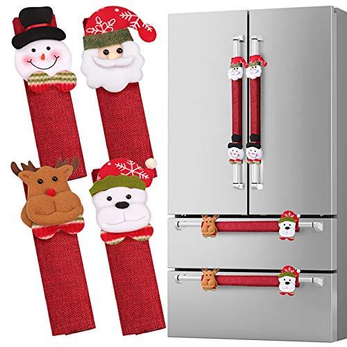 D-FantiX Refrigerator Door Handle Covers Set of 8, Santa Snowman Kitchen Appliance Covers Fridge Microwave Oven Dishwasher Door Handle Protector Christmas Decorations