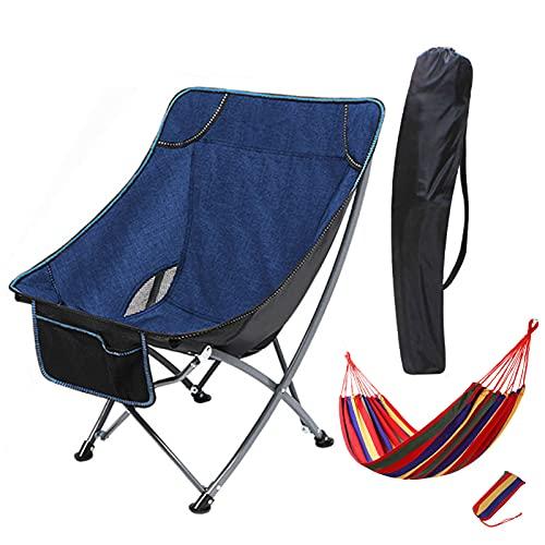 PLOKN Silla Plegable para Acampar, Silla de Camping portátil con Silla Colgante, con Bolsa de Transporte para Senderismo, Playa, Pesca Blue