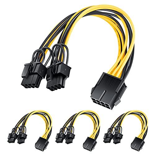 GPU 8-pin PCI-E to 2 PCI-E 8-pin (6-pin + 2-pin) Power Cable (4Pack)