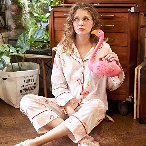 XFLOWR Damen Nachtwäsche Baumwolle Herbst Flamingo Print Pyjama Frauen Damen Anzug Langarm Damen Pyjama Casual Home Wear L.