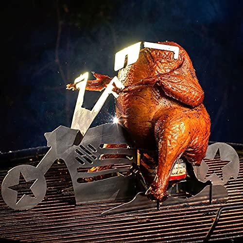 Hähnchen Ständer Tragbarer Hühnerständer Bier American Motorcycle BBQ Edelstahlregal mit Brille, Grillrost aus Edelstahl, Bierdosenhalter, Hühnerhalter, Indoor Outdoor Verwendung Hühnerröster (C)