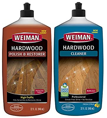 Weiman Hardwood Floor Cleaner & Polish Restorer Combo - 2 Pack - High-Traffic Hardwood Floor, Natural Shine, Removes Scratches, Leaves Protective Layer