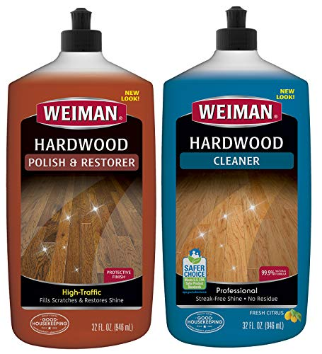 Weiman Hardwood Floor Cleaner and Polish Restorer Combo - 2 Pack - High-Traffic Hardwood Floor, Natural Shine, Removes Scratches, Leaves Protective Layer - Packaging May Vary