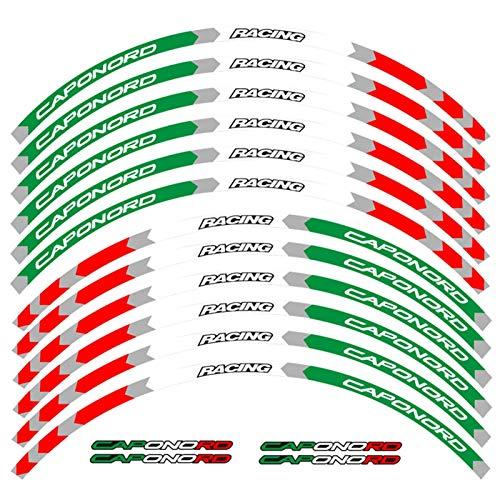 6 Estilos Motocicleta 17 Pulgadas de Rueda calcomanía Reflectante Pegatinas para Aprilia Caponord 1200 Rally Caponord 1200 Paquete de Viaje (Color : B Green White Red)