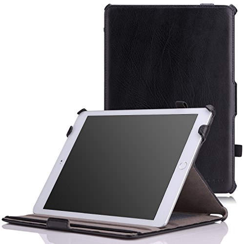 "MoKo Case Fit iPad Air 2 - Genuine Leather Slim-Fit Multi-Angle Folio Cover Case Fit Apple iPad Air 2 9.7"" 2014 Released Tablet, Black (with Auto Wake/Sleep, Not Fit iPad Air 2013 Released Tablet)"