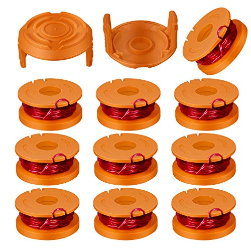 "Girapow Worx WA0010 0.065"" Twisted String Trimmer Spool Line 10ft Replacement for Worx WG150s WG151 WG154 WG155 WG160 WG163 WG175 WG180 Cordless Grass Edger Mini-Mower (10 Spools + 2 Caps)"