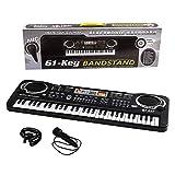 Shayson Kids Piano Keyboard, Multi-function 61 Key Piano Electronic Music Child Musical Electronic Karaoke Keyboard Microphone Kids(Black 2)