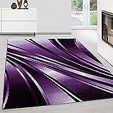 Teppich modern Design Teppich Rechteck Pflegeleicht Abstrakt Wellen Lila, Maße:160 cm x 230 cm