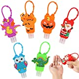 Kids Hand Sanitizer Holder - Keychain Hand Sanitizer Holder for Backpack - Empty Silicone Cute Cartoon Travel Refillable Bottles, Best Gifts for Themed Parties Christmas, Halloween, 6PCS/30ML/1OZ