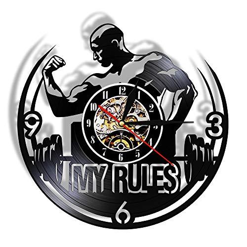 SFTWEAD My Rules Reloj de Pared Gimnasio Fitness Levantamiento de Pesas Disco de Vinilo Personalidad Decoración de Pared para Fitness Club