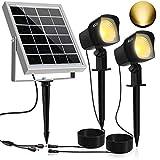 Solar Proyector LED CLY,300LM Luz del Jardín,2 * 1.5W Luz Solar de Blanco Cálido,Impermeable IP66 Foco Solar Exterior...