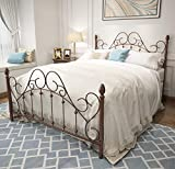 Queen Platform Metal Bed Frame with Headboard and Footboard,Vintage Victorian Style Mattress Foundation, No Box Spring Required, Under Bed Storage, Antique Bronze Brown.