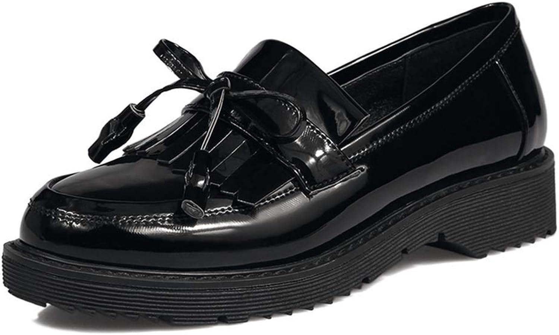 Elsa Wilcox Women Tassel Fringed Flat Low Heel Leather Slip On Comfort Dress Oxford shoes Classic Penny Loafers