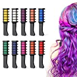 Ainviata Hair Chalk Comb Fit All Hair Color, 10 Temporary Color Hair Chalk for Girls/Kids/Teen Gift, Non-Toxic & Washable Hair Color Comb Set Hair Dye on Halloween Christmas Cosplay DIY Birthday Party