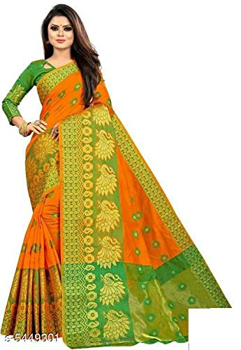 FIRST SELECT CLOTHES Women's Banarasi Cotton Silk Saree With Un-stitched Blouse