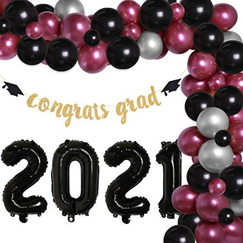 Burgundy and Black Graduation Decorations 2021 Burgundy Silver Balloon Garland Arch Kit for College Senior High School - Maroon Balloons Congrats Grad Banner 2021 Balloons