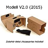 Google Cardboard V 2.0 (inspired by) Virtual Reality VR 3D Brille / Für Smartphones / Neues Modell (2015) / mit Kopfband und Stirnpad / Große 45mm Brennweite / u.a. für Android und iPhone